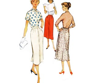 50s Pencil Skirt Pattern Long Skirt pattern Slim Skirt pattern vintage Waist 28 McCalls 9453