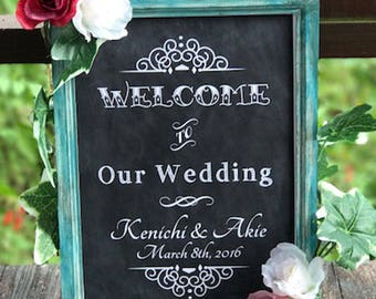 Framed Wedding Chalkboard Sign Print - A4, Old Fashioned Shabby-chic chalkboard sign, Turquoise, Pistachio, Pink