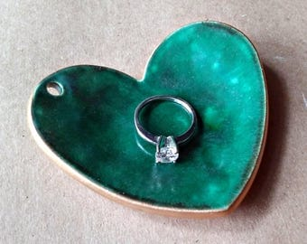 Ceramic Ring Bearer Bowl ring bearer pillow alternative Malachite green edged in gold