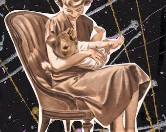 Cat Baby {Original Collage}