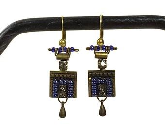 80s Ayala Bar Earrings / Vintage 1980s Rare Israeli Designer Byzantine Art Nouveau Mixed Media Mosaic Boho Chic Earrings Pierced Ears