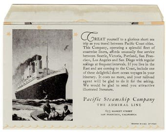 Pacific Steamship Company Admiral Line Dinner Menu July 15, 1932 S.S. Dorothy Alexander Ocean Liner Advertising Collectible Art Memorabilia