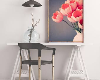 Tulip Wall Art Print, Floral Wall Decor, Living Room, Bedroom, Kitchen, Dining Room, Office, Flower Photography Print, Large Wall Art