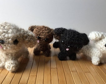 Poodle Puppy Amigurumi Doll - Choose a color - Beige, Black, Brown, and White