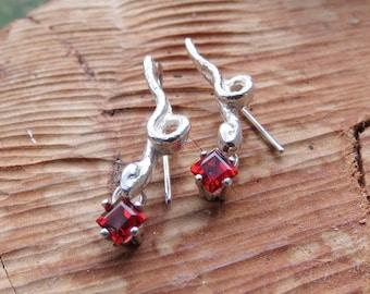 Tiny Snake Dangle Earrings with Garnet Gemstones In Sterling Silver Drop Earrings Square Princess Cut January Birthstone Earrings
