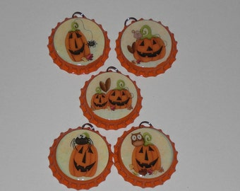 5 Whimsical Orange Bottle Cap Charms Jewelry Halloween Pumpkin Owl Spider Mouse Mini Tree Ornaments Ornies Party Favors Scrapbooking Ornies