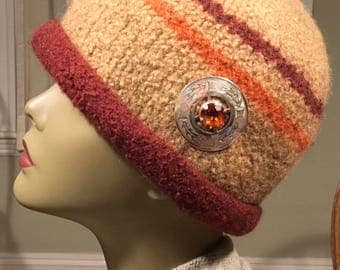 Warm Glow felted 100% wool hat with bold silver and stone pin