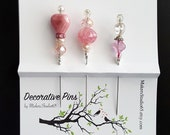Decorative Pin Set, Stick Pin, Beaded Pin, Party, Sewing, Cards, Pincushion pins, Quilting, accessory, Sewing, Scarf Pin