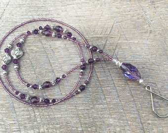 Beaded ID badge lanyard -Enchantment- purple and silver glass ID badge beaded lanyard necklace for office nurse teacher gift
