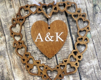 Personalised initials / monogram wood wedding heart decoration / Custom 5th anniversary gift. Dark wood & white hanging hearts
