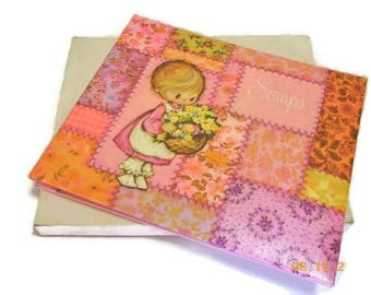 Pink Girl's Scrapbook | Vintage 1971 Hallmark Scrapbook | Betsy Clark Style Big Eyed Girl | Quilted Look Pink Background