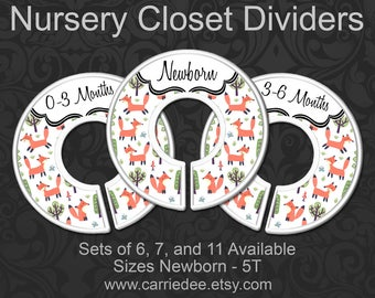 Nursery Closet Dividers, Baby Closet Dividers, Woodland Foxes Baby Decor, Baby Shower Gift, Gender Neutral - Adorable Fox