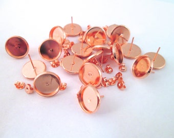 12mm bezel stud earring settings, rose gold finish, pick your amount, C157