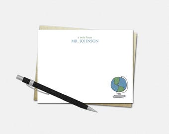 Personalized Globe Note Cards - Personalized Flat Note Cards for Teachers - Stationery for Teachers - Gifts for Teachers - Globe Note Cards