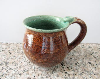 Coffee Cup, Speckled Mug, Cinnamon brown glaze, Ready to mail