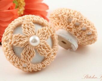 Farmhouse Chic Drawer Pull Knobs, Peach Daisy Crochet, 1 1/2 Inches, White