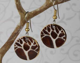 Tree of Life Dangle Earrings Brown and White Handmade Porcelain Ceramic Jewelry