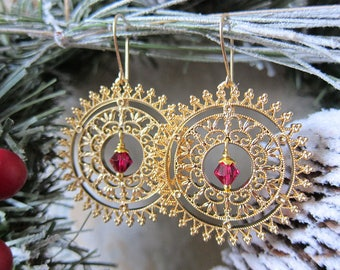 The Wheel of Winter - Golden Filigree Medallion Earrings with Magenta Crystal Centers