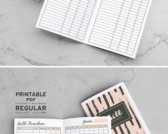 Printable Bill Tracker Traveler's Notebook Inserts, MTN Bill Tracker Inserts, Printable Midori Bill Tracker inserts, PDF file