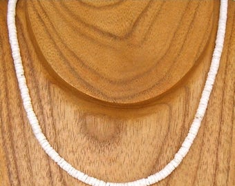 SALE Necklace Puka Shell White Round Hawaiian Surfer SUP 18 or 20 Inches Length 7067