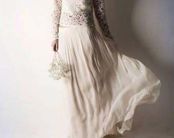 Wedding skirt, Unique wedding dress, Long Bridal skirt, Wedding Dress separates, Silk wedding dress, Hippie wedding dress, Bridal separates