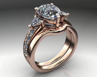 Private Listing for Ben - 2.6 carat pear cut ZAYA moissanite engagement ring, final payment 2 of 2