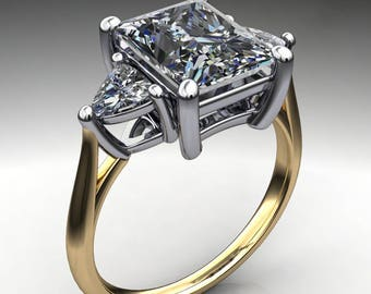 amelie ring - 2.7 carat radiant cut NEO moissanite engagement ring, 3 stone ring