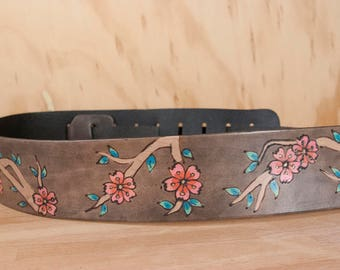 Crossbody Strap Replacement - Leather Purse Strap with Cherry Blossoms - Pink and antique black - Guitar Strap Purse Strap
