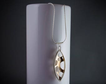Modern Art Pendant Necklace, 14k Gold and Silver Jewellery Gift for Her