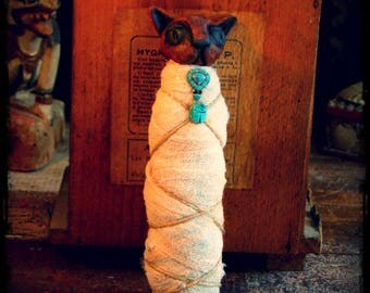 Mini Cat Mummy Sculpture, ceramic and fibre cat mummy figure