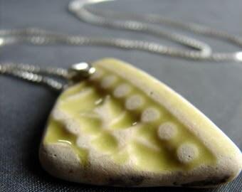 Sea pottery necklace  / sea glass jewelry / sea glass necklace / sea pottery jewelry / unique necklace / one of a kind necklace / ivory