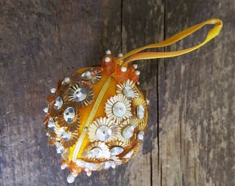 Vintage Bead and Sequin Ball Christmas Ornament