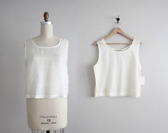 cream silk tank top | cropped tank top | white silk crop top