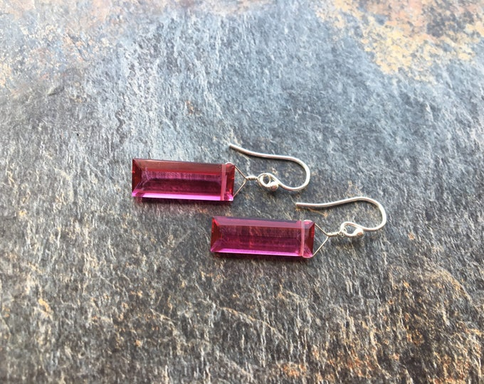 Pink Quartz Earrings, Simple, Elegant Sterling Silver
