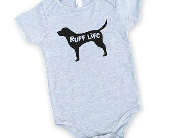 Ruff Life Cotton One Piece in Heather Grey with Black print - Baby Shower Gift, Adorable Newborn Tiny Human Present, Dog Lover, Puppy, Bark