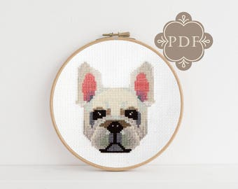 PDF Counted Cross Stitch - French Bulldog / dog cross stitch, diy, how-to, embroidery, pattern, gift, dmc, supply, instruction, pet