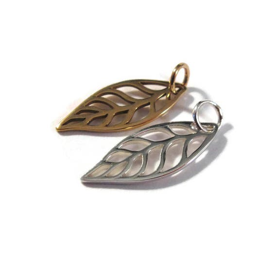 Leaf Charm, .925 Sterling Silver or Natural Bronze Openwork Leaf Pendant, Nature Charm, Jewelry Supplies
