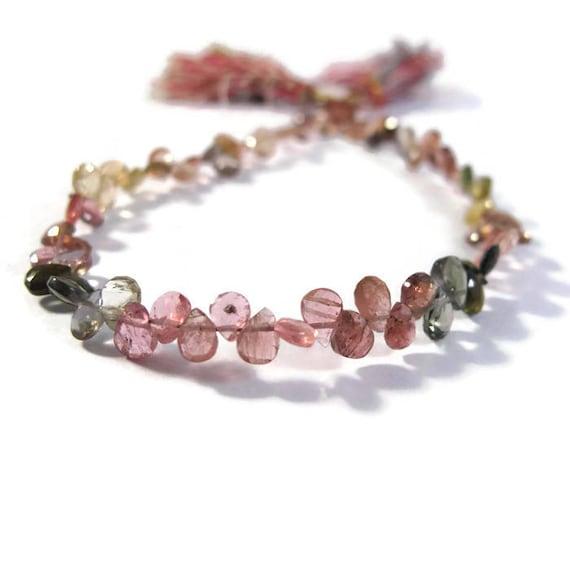 32 Multi Tourmaline Briolettes, Tiny Gemstones, Natural Pink, Green & Brown Tourmaline Beads4 Inch Strand (B-Tou2b)