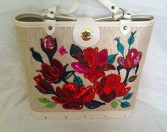 Fabulous Jeweltone Handbag Kit Red Roses No. 942 Enid Collins Style NOS unfinished