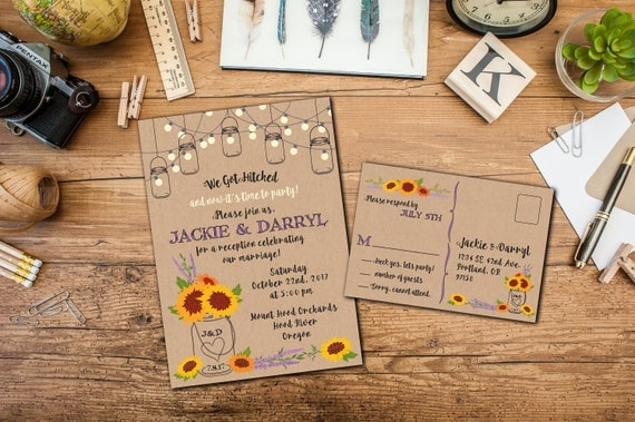 Rustic Mason Jar Sunflowers Elopement Invitation Suite, Wedding Reception Invitation, Response Postcards,Event Invitation, Party Invitation