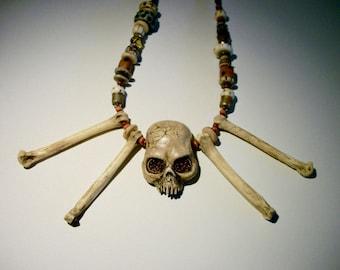 Head Hunter, Voodoo, Real Bones, Witch,  Shrunken Head, Zombie Head Necklace
