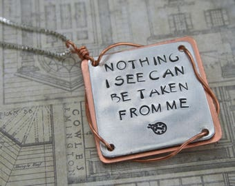 Bug Phish song lyrics hand-steamped copper aluminum necklace pendant hippie jewelry