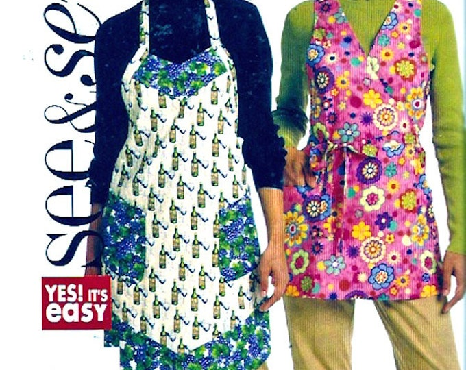 Chef Baker Moms aprons McCalls 5274 housewarming gifts sewing pattern SM to Large UNCUT