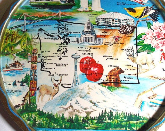 Souvenir Washington State platter round tray collectible vintage map animals birds places of Pacific northwest Home decor housewarming gift