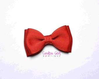 """Red Stacked Hair Bow ~ 3.5"""" Hairbow ~ Small Hair Bow ~ Girls Barrette ~ Toddler Bow ~ Baby Hair Bow ~ Hair Clip ~ Girls Hair Bow"""