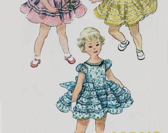 Vintage 1950s Girls Dress w/ Full Circle Skirt Sewing Pattern Simplicity 4992 50s Rockabilly Pattern Size 1 Breast 20 UNCUT