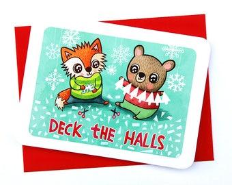 Deck the Halls - Cute Christmas Card Fox Bear Holiday Card Boyfriend Cute Winter Card Funny holiday card friend Holiday Greeting Cards