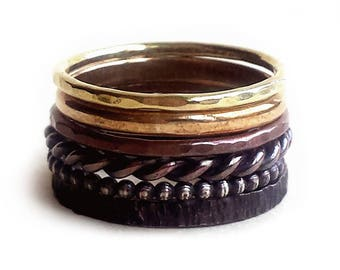 Ombre Stacked Rings - Rustic Stacked Rings - Antiqued Stacked Rings - Six Stacked Rings - Mixed Metal Rings - Dark Rings - Made In Brooklyn