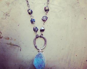 Rustic Glam Blue Druzy Pyrite Necklace