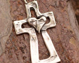 Sterling Silver Cross Pendant, Heart on a Cross Pendant, PX-144